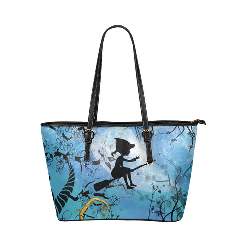 Cute flying witch Leather Tote Bag/Large (Model 1651)