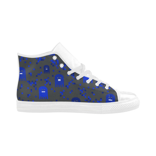 Blue Video Game Aquila High Top Action Leather Women's Shoes/Large Size (Model 032)