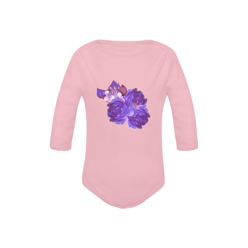 Vintage hand-drawn Body for little girls. Atelier fashion news for 2016. Hand-drawn original floral  Baby Powder Organic Long Sleeve One Piece (Model T27)