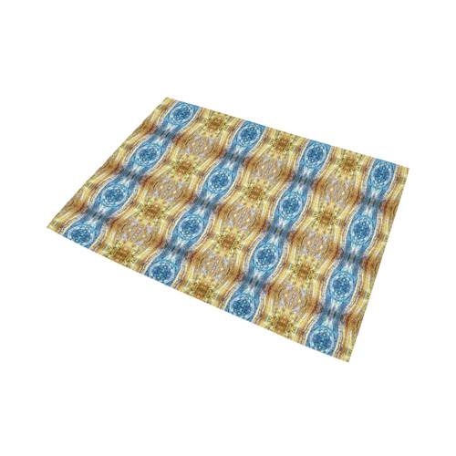 Gold and Blue Elegant Pattern Area Rug7'x5'