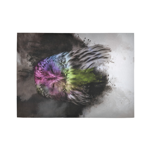 Abstract colorful owl Area Rug7'x5'