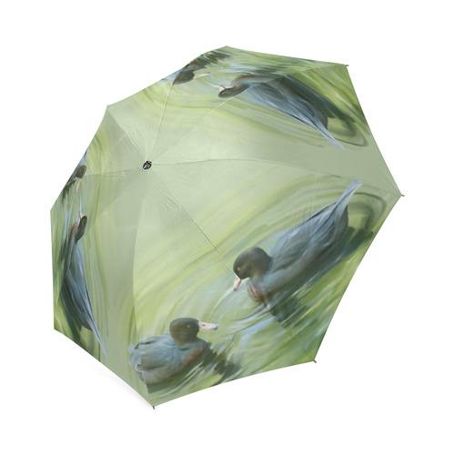Blue Ducks in Pond - watercolors Foldable Umbrella