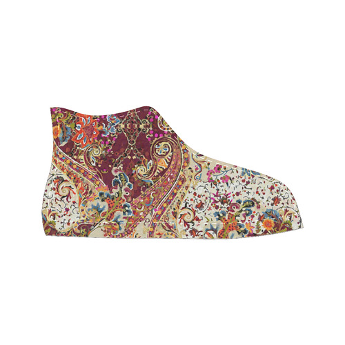 Vintage Jacobean Floral Tapestry High Top Canvas Women's Shoes/Large Size (Model 017)
