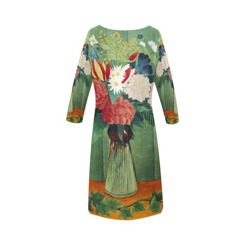 Henri Rousseau Bouquet of Flowers Still Life Round Collar Dress (D22)