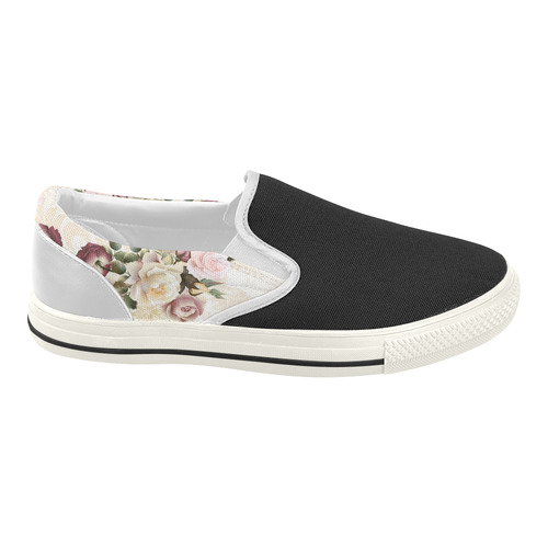 New! Vintage luxury designers Shoes with hand-drawn Fashion art. Exclusive offer. 2016 COLLECTION. Women's Slip-on Canvas Shoes (Model 019)