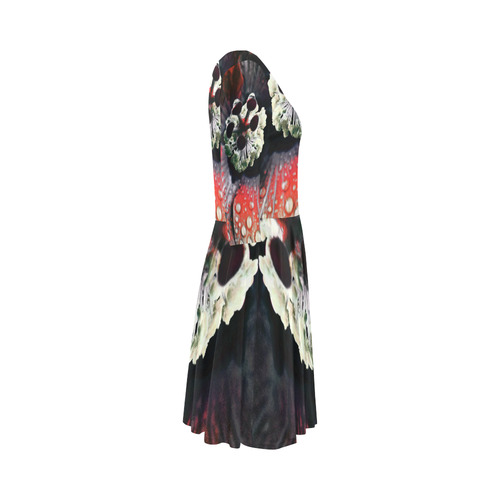 Hibiscus Gothic by Martina Webster Elbow Sleeve Ice Skater Dress (D20)