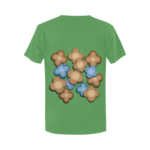 Brown and Blue Flowers Women's T-Shirt in USA Size (Two Sides Printing)