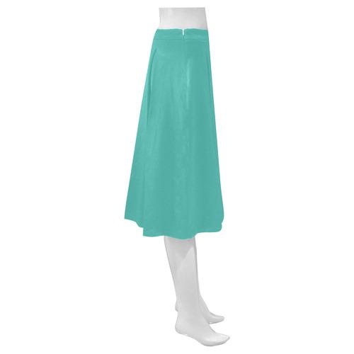 Turquoise Mnemosyne Women's Crepe Skirt (Model D16)