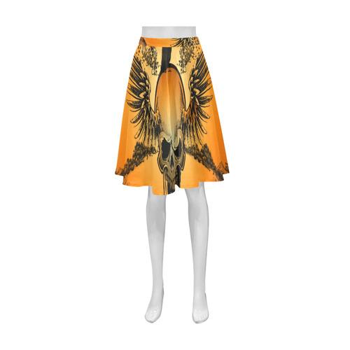 Amazing skull with crow Athena Women's Short Skirt (Model D15)