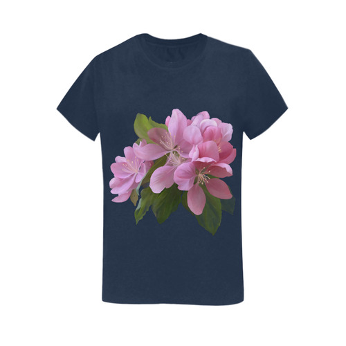 Pink Blossom Branch, watercolors Women's T-Shirt in USA Size (Two Sides Printing)
