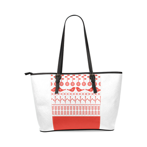 New! Fashion designers Folk bags with red vintage hand-drawn birdies and floral motives. New fashion Leather Tote Bag/Large (Model 1640)
