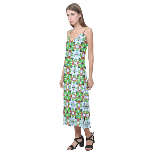 Green and Orange V-Neck Open Fork Long Dress(Model D18)