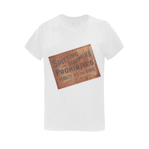 Spitting prohibited, penalty Women's T-Shirt in USA Size (Two Sides Printing)