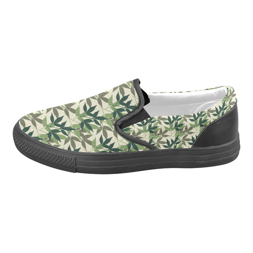 Botanical, nature, foliage, leaf, green Slip-on Canvas Shoes for Men/Large Size (Model 019)