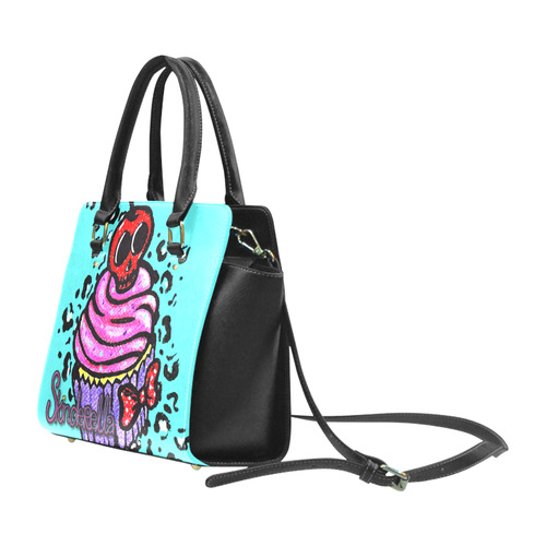 """Skull Cherry Cupcake"" by Skinderella Classic Shoulder Handbag (Model 1653)"