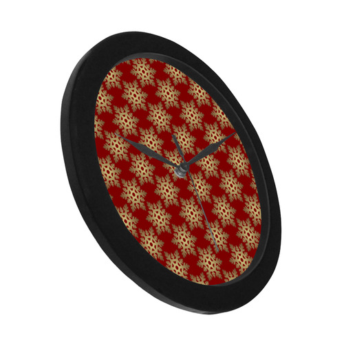 Red and Gold Christmas Damask Snowflakes Circular Plastic Wall clock