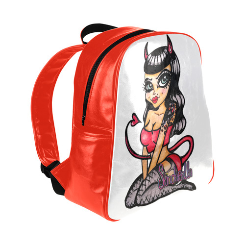"""Devil Doll"" by Skinderella - Red - Multi-Pockets Backpack (Model 1636)"