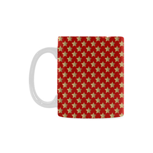 Red and Gold Christmas Stars 2 White Mug(11OZ)