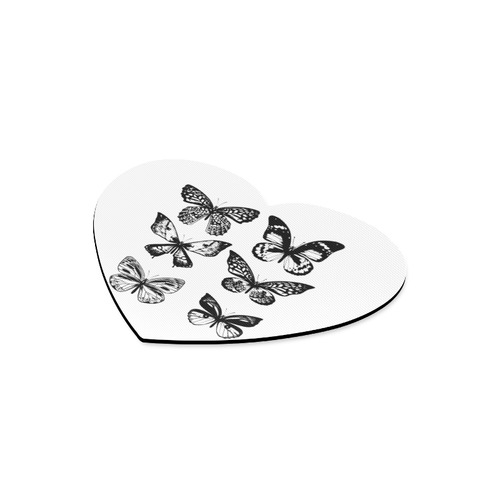 New! Original designers butterfly vintage heart-shaped Original handdrawn artistic Mousepad / White  Heart-shaped Mousepad