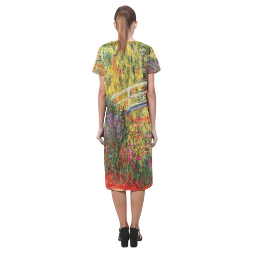 Claude Monet Japanese Bridge Floral Fine Art Short Sleeves Casual Dress(Model D14)
