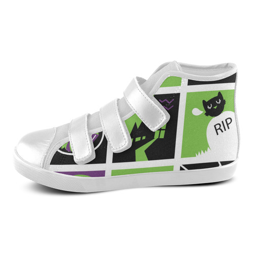 New! Original designers shoes with HALLOWEEN Theme. New arrival in Shop for 2016 / Green and Black Velcro High Top Canvas Kid's Shoes (Model 015)