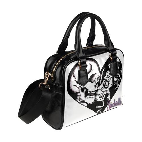 """""""Skull Heart Kiss"""" by Skinderella Shoulder Handbag (Model 1634)"""