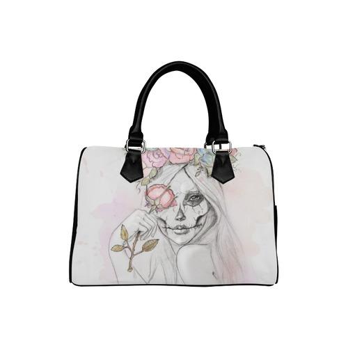 Boho Queen, skull girl, watercolor woman Boston Handbag (Model 1621)