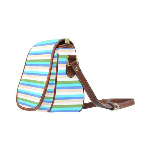 beach color stripes of Sint Maarten Bag Saddle Bag/Small (Model 1649) Full Customization