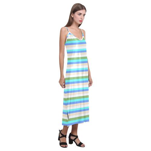 Beach color stripes of Sint Maarten Dress V-Neck Open Fork Long Dress(Model D18)