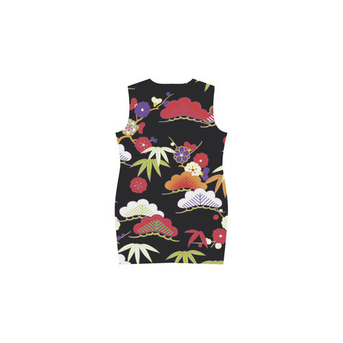 Winter Floral Vintage Japanese Kimono Phoebe Sleeveless V-Neck Dress (Model D09)