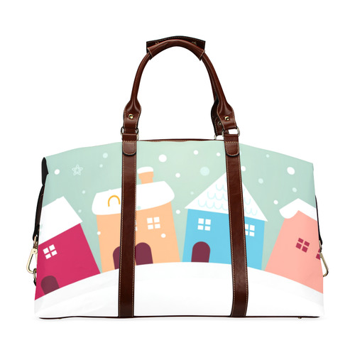 New arrival in Shop! Travel designers bags edition with hand-drawn Original art. Christmas village.  Classic Travel Bag (Model 1643) Remake