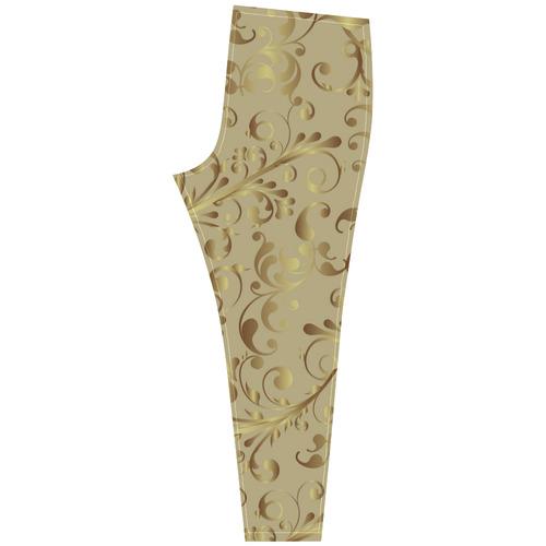 Red and Gold Christmas Elegant Floral Cassandra Women's Leggings (Model L01)