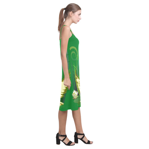 Lovely Swan   & Flower Lily in a Pond Alcestis Slip Dress (Model D05)