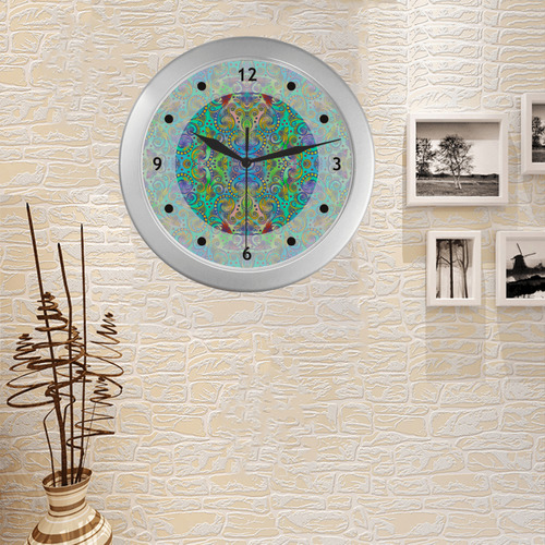 Oriental Flowers Spirals Ornaments Soft Colored Silver Color Wall Clock