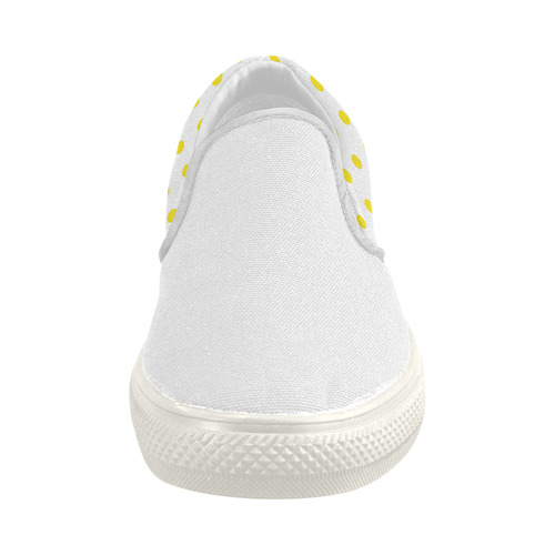 New arrival in Shop : White and yellow designers shoe. Arrivals for 2016. Luxury shoes Women's Slip-on Canvas Shoes (Model 019)