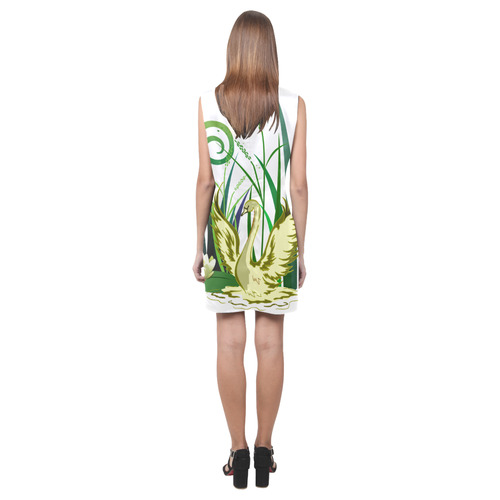 Lovely Swan  & Flower Lily in a Pond Phoebe Sleeveless V-Neck Dress (Model D09)