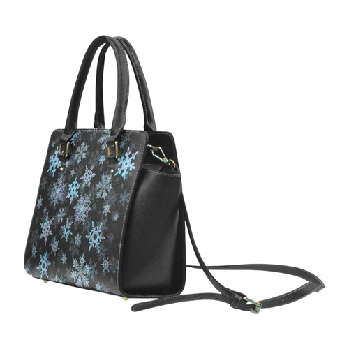 Snowflakes, Blue snow, stitched Classic Shoulder Handbag (Model 1653)