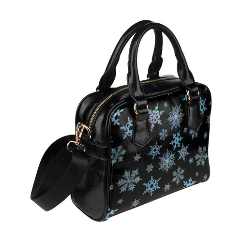 Snowflakes, Blue snow, stitched design Shoulder Handbag (Model 1634)
