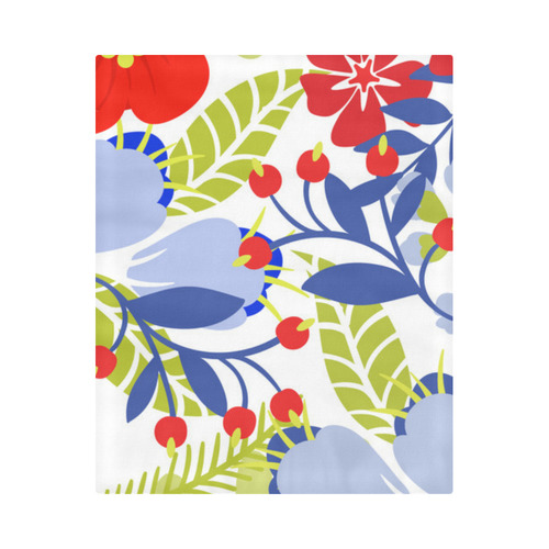 """Colorful Red Blue Modern Floral Pattern Duvet Cover 86""""x70"""" ( All-over-print)"""