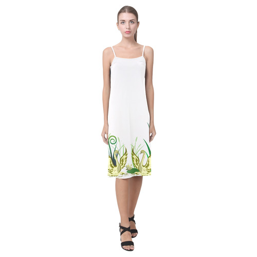 Lovely Swans  & Flower Lily in a Pond Alcestis Slip Dress (Model D05)