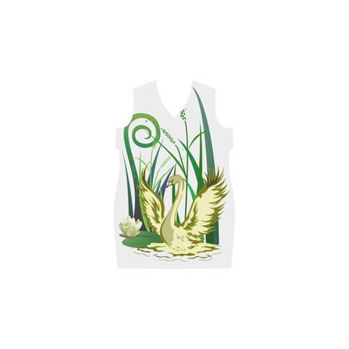 Lovely Swan  & Flower Lily in a Pond Phoebe Sleeveless V-Neck Dress (Model D09)