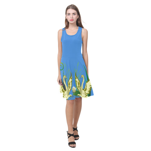 Lovely Swans  & Flower Lily in a Pond Atalanta Casual Sundress(Model D04)
