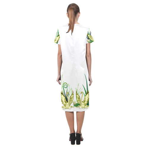 Lovely Swan  & Flower Lily in a Pond Short Sleeves Casual Dress(Model D14)