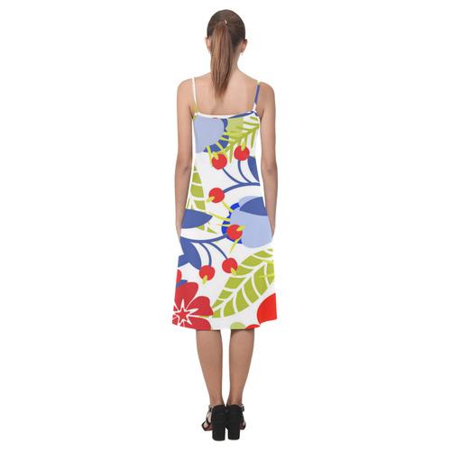 Red Blue Colorful Modern Floral Pattern Alcestis Slip Dress (Model D05)