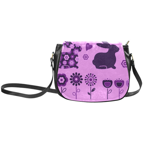 Exclusive hand-drawn elegant vintage Bags Collection. Cute art with bunny and floral art. Unique fas Classic Saddle Bag/Small (Model 1648)