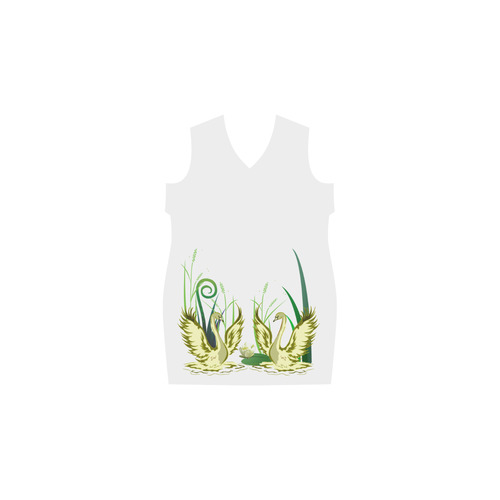 Lovely Swans  & Flower Lily in a Pond Phoebe Sleeveless V-Neck Dress (Model D09)
