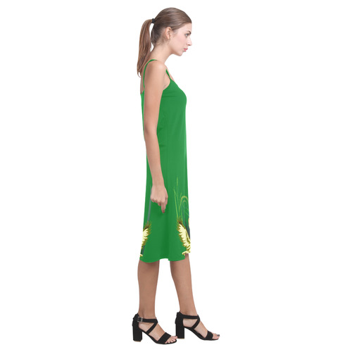 Lovely Swans  & Flower Lily in a Pond Alcestis Slip Dress (Model D05)