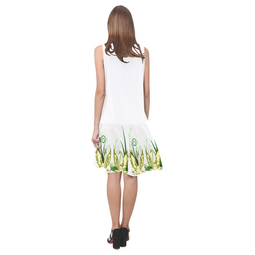 Lovely Swans  & Flower Lily in a Pond Sleeveless Splicing Shift Dress(Model D17)