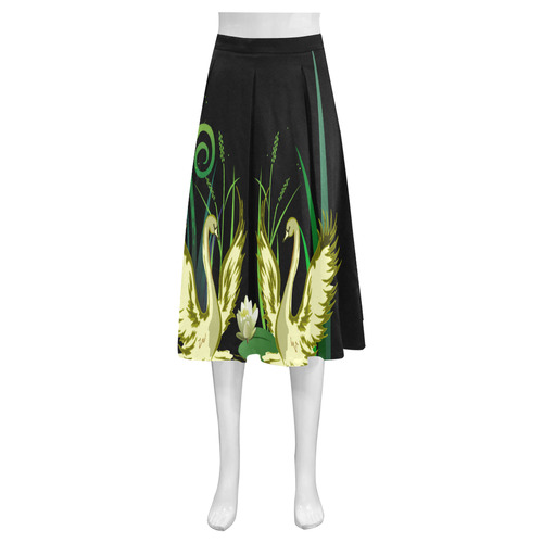 Lovely Swans  & Flower Lily in a Pond Mnemosyne Women's Crepe Skirt (Model D16)