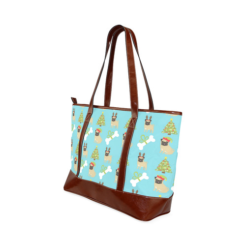 Reindeer Pug, Tree and Dog Bone Christmas Tote Handbag (Model 1642)